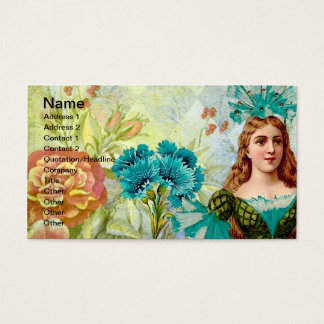 Vintage Lady and Flowers Business Card