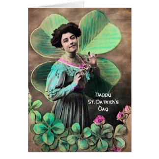 VINTAGE LADY AND LUCKY SHAMROCKS St Patrick's Day Card