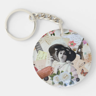 Vintage lady and old parasol, roses and letters keychain