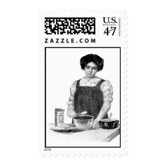Vintage Lady Baking Postage Stamps