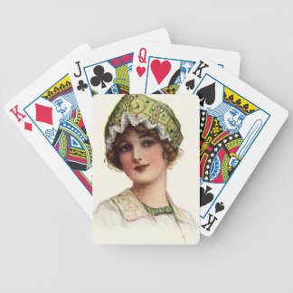Vintage lady bicycle playing cards