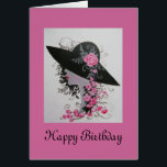 """VINTAGE LADY BIRTHDAY CARD<br><div class=""""desc"""">Original design by Dian... ... A lovely vintage lady with a large picture hat adorned with roses,  a delight to view and receive. A perfect card for any woman who loves the timeless beauty of vintage eras. A one of a kind original!</div>"""
