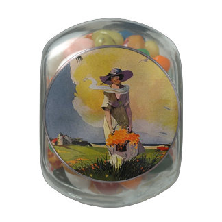 Vintage Lady by the Sea Jelly Belly Candy Jars
