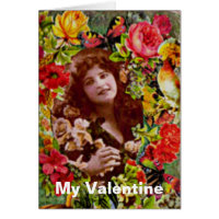 Vintage Lady Cameo in Roses Greeting Card