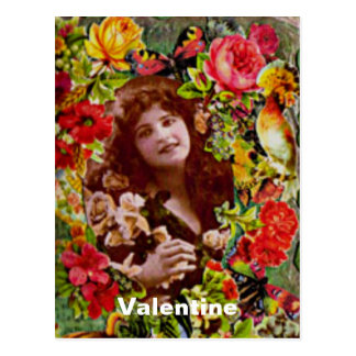 Vintage Lady Cameo in Roses Postcard