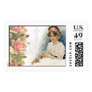 Vintage Lady & Catherine Klein Roses Stamp