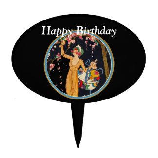 Vintage Lady Cherry Blossom Tree Hat Box Birthday Cake Topper