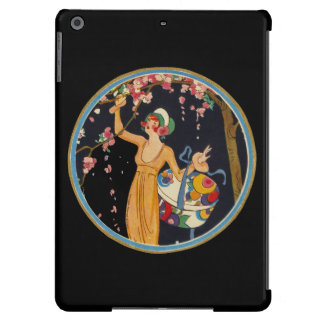 Vintage Lady Cherry Blossom Tree Hat Box Case For iPad Air