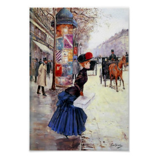 Vintage Lady crossing street in Paris Poster