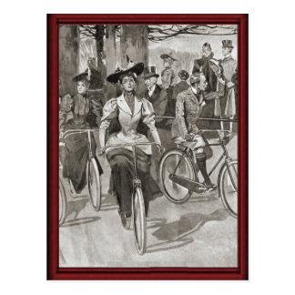 Vintage lady cyclists postcard