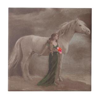 Vintage Lady DayDream & White Night Horse Tile