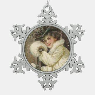 Vintage Lady Dressed in Winter White Fur Schmucker Snowflake Pewter Christmas Ornament