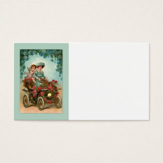Vintage lady drives car with angel business card