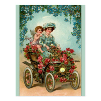 Vintage lady drives car with angel postcard