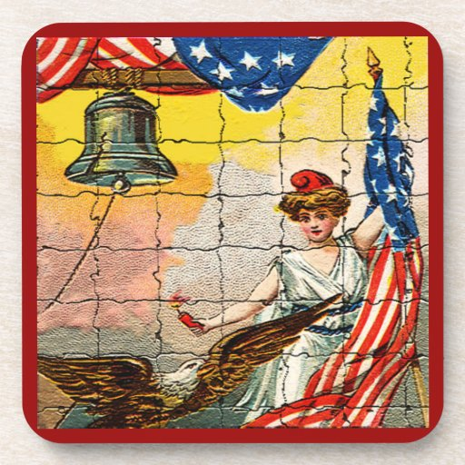 Vintage Lady, Eagle, Flag and Liberty Bell Mosiac Beverage Coasters