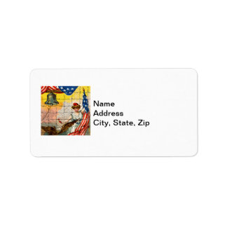 Vintage Lady Eagle Flag and Liberty Bell Mosiac Custom Address Label