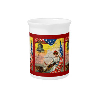 Vintage Lady, Eagle, Flag and Liberty Bell Mosiac Drink Pitcher