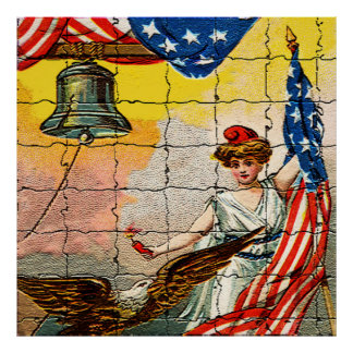 Vintage Lady, Eagle, Flag and Liberty Bell Mosiac Poster