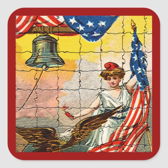 Vintage Lady, Eagle, Flag and Liberty Bell Mosiac Square Sticker