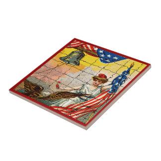 Vintage Lady, Eagle, Flag and Liberty Bell Mosiac Tile