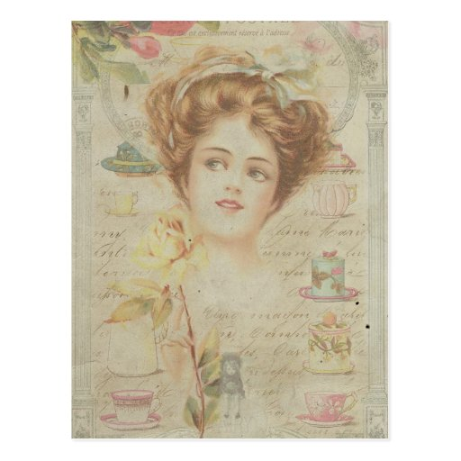 Vintage Lady Elegant China Frame Shabby Collage Postcard