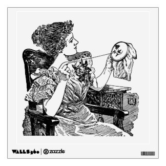 Vintage Lady Embroidery Wall Decal