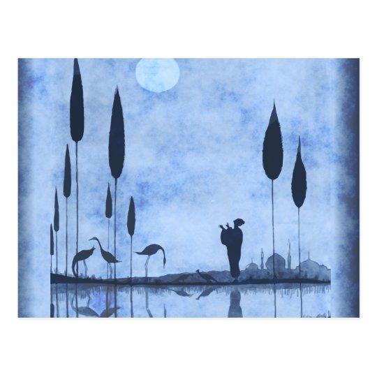 Vintage Lady & Flamingos On Moonlit Lake Postcard