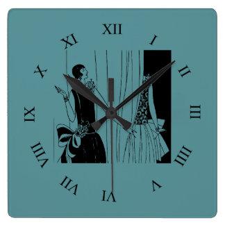Vintage lady flapper 1920s fashion square wall clock