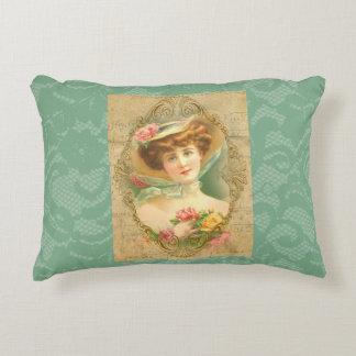 Vintage Lady Floral Hat Mint Green Faux Lace Accent Pillow