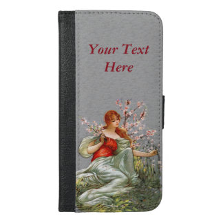 Vintage Lady Flowing Gown Picking Pink Flowers iPhone 6/6s Plus Wallet Case
