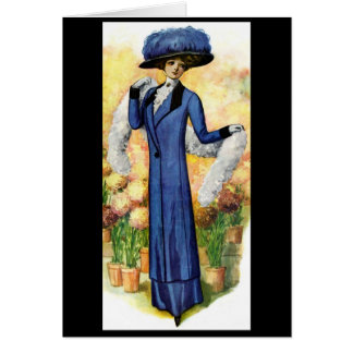Vintage Lady going for a Stroll Card