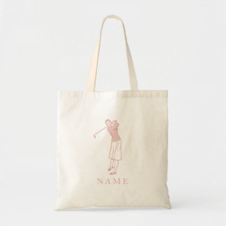 Vintage Lady Golfer in Pink Tote Bag