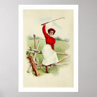 Vintage Lady Golfer Poster