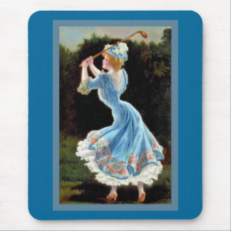 Vintage Lady Golfing Mouse Pad