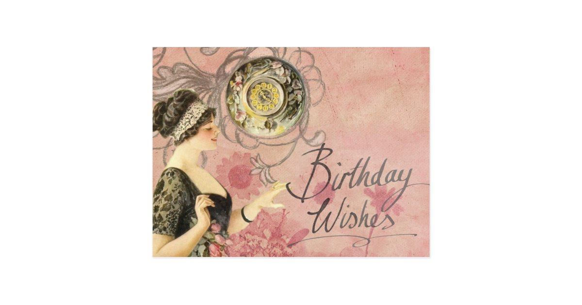Vintage Lady Happy Birthday Postcard