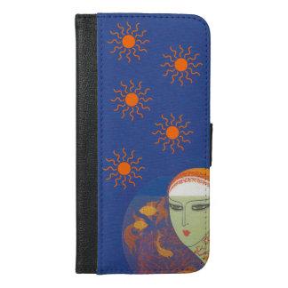 Vintage Lady Head Scarf Behind Fish Bowl Sun iPhone 6/6s Plus Wallet Case