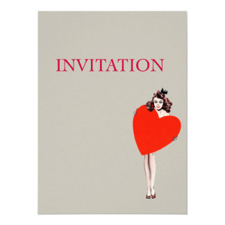 Vintage Lady Holding Love Heart 5.5x7.5 Paper Invitation Card