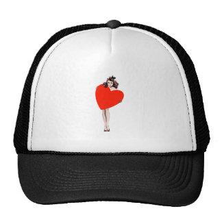 Vintage Lady Holding Love Heart Trucker Hat