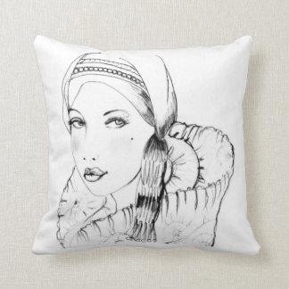 Vintage Lady I Throw Pillows