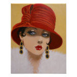 VINTAGE LADY IN A RED HAT, POSTER
