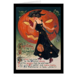 Vintage Lady in Black and Jack o' Lantern Card