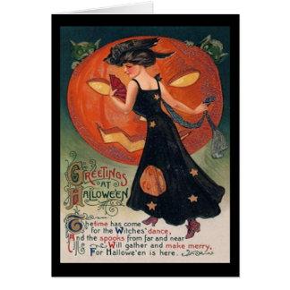 Vintage Lady in Black and Jack o' Lantern Card