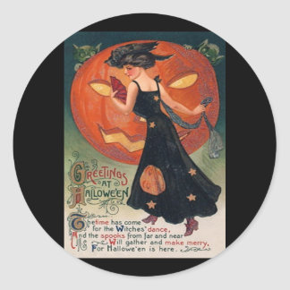 Vintage Lady in Black and Jack o' Lantern Classic Round Sticker