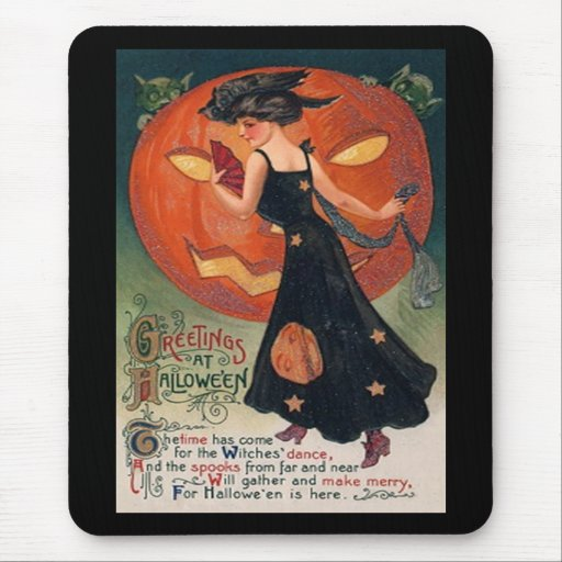 Vintage Lady in Black and Jack o' Lantern Mouse Pad