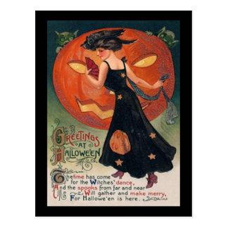 Vintage Lady in Black and Jack o' Lantern Postcard