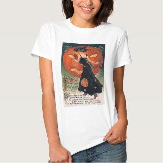 Vintage Lady in Black and Jack o' Lantern Tshirts