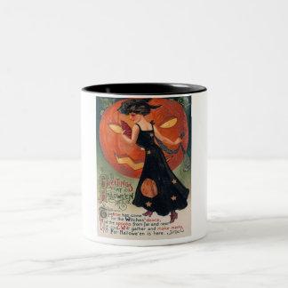 Vintage Lady in Black and Jack o' Lantern Two-Tone Coffee Mug