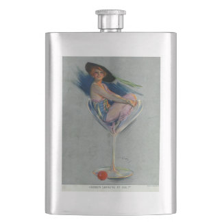 Vintage Lady in Champagne Glass Hip Flask