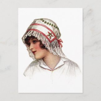 Vintage Lady in Embroidery and Lace Bonnet postcard
