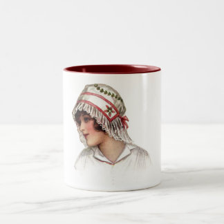 Vintage Lady in Embroidery and Lace Bonnet Two-Tone Coffee Mug